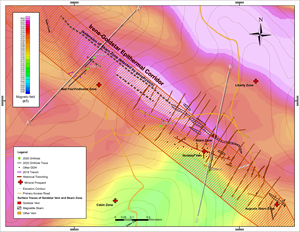 Four holes were drilled in the southeastern portion of the Irene Goldstar Corridor during the 2020 exploration program: IGC20-01 intersected gold-rich massive magnetite skarn near surface, as well as zones of related epithermal Au-Ag (+/-Cu-Pb-Zn) mineralization; IGC20-02 intersected new, near-surface zones of epithermal Au-Ag (+/-Cu-Pb-Zn) mineralization; IGC20-03 extended the Au-Ag-Cu rich Goldstar Vein plus intersected new epithermal Au-Ag mineralization near surface; IGC20-04 terminated prematurely due to a catastrophic drill failure at 7.35m, but intersected high-grade gold and silver near surface.