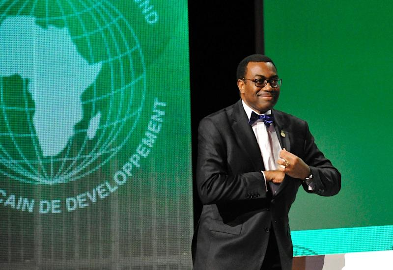 The new president of the African Development Bank (AfDB) Akinwumi Adesina smiles on May 28, 2015 in Abidjan following his election at the AfDB annual meeting