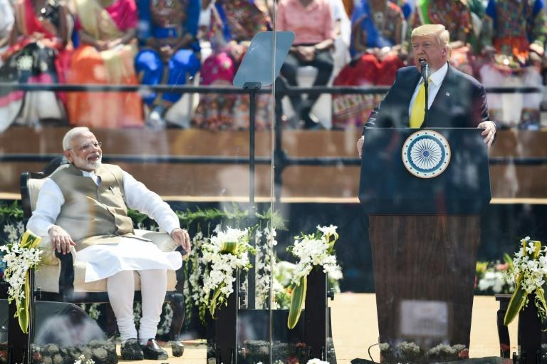 US President Donald Trump speaks during a February 2020 rally in the Indian state of Gujarat next to Prime Minister Narendra Modi, who shares some of the US leader's inclinations