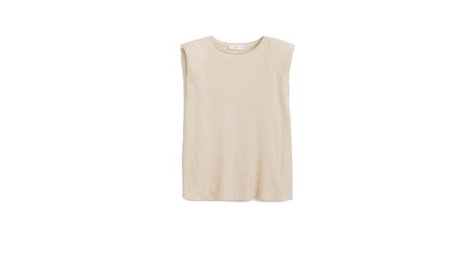Knit shoulder pad t-shirt