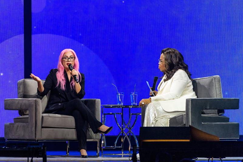 SUNRISE, FL - JANUARY 04: (EXCLUSIVE COVERAGE) Lady Gaga and Oprah Winfrey speak during the WW (Weight Watchers Reimagined) & Oprah's 2020 Vision: Your Life In Focus Tour at BB&T Center on January 4, 2020 in Sunrise, Florida. (Photo by Jason Koerner/Getty Images for Oprah)