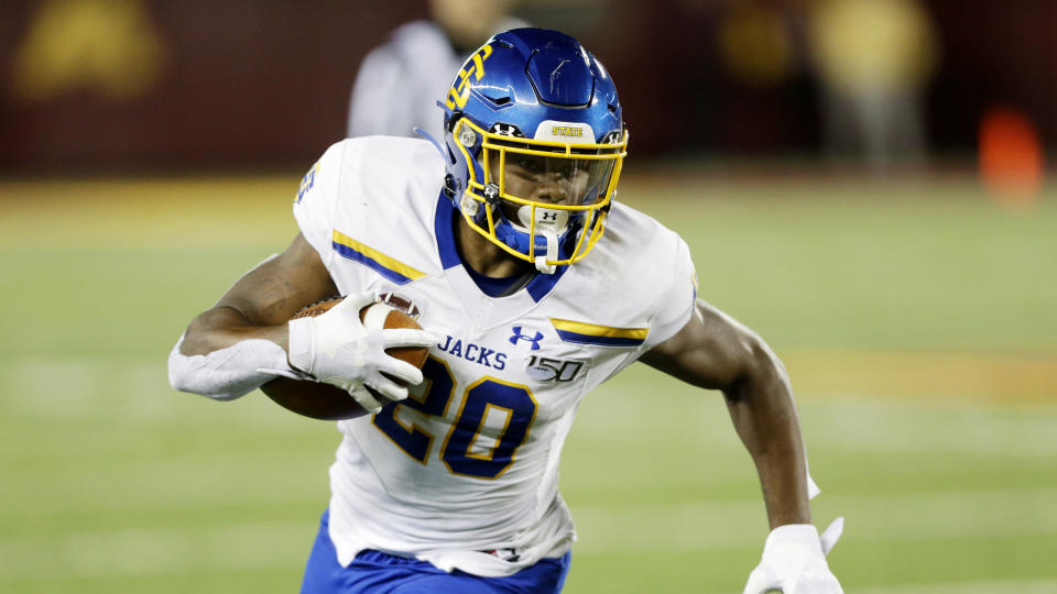 South Dakota State running back Pierre Strong during an NCAA football game against Minnesota Thursday, Aug. 29, 2019 in Minneapolis. (AP Photo/Andy Clayton- King)