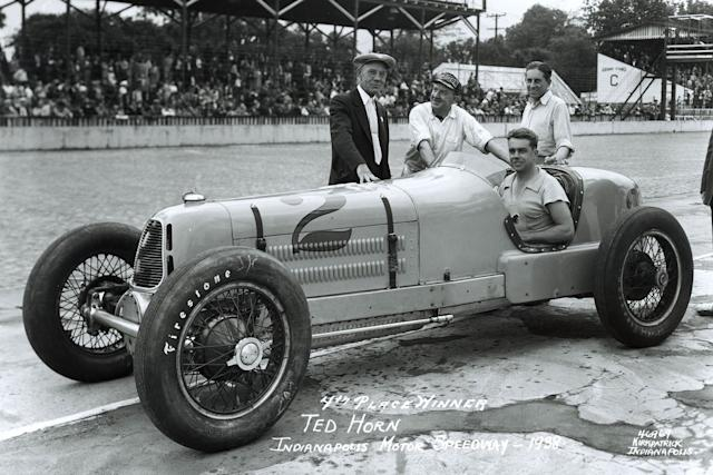 """Horn found the Hartz-Miller sluggish when its newly enlarged fuel tank was full to the brim. A precautionary stop to check all was well would ruin his chances in 1938. <span class=""""copyright"""">Indianapolis Motor Speedway</span>"""