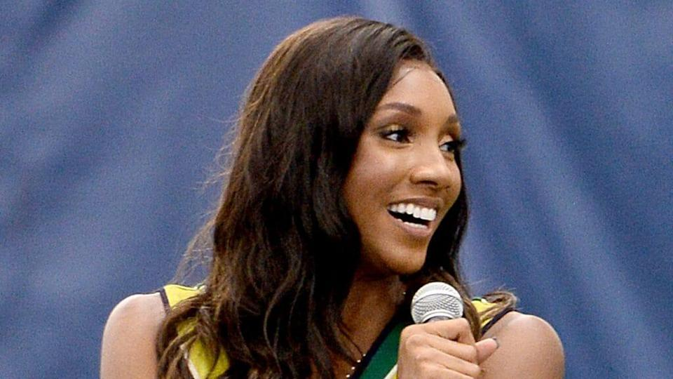 This photo from August 2910 shows ESPN's Maria Taylor speaking at a private tennis clinic with Mercedes-Benz in New York City. (Photo by Noam Galai/Getty Images for Mercedes-Benz)