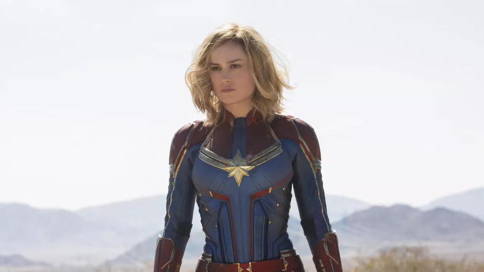 """It took Marvel a long time to give a female superhero a solo leading role, but <em>Captain Marvel</em> was worth the wait and, with <a href=""""https://uk.movies.yahoo.com/black-widow-trailer-scarlett-johansson-085118645.html"""" data-ylk=""""slk:Black Widow on the way;outcm:mb_qualified_link;_E:mb_qualified_link;ct:story;"""" class=""""link rapid-noclick-resp yahoo-link""""><em>Black Widow </em>on the way</a> as well as a <a href=""""https://uk.movies.yahoo.com/scarlett-johansson-is-pushing-for-the-allfemale-marvel-movie-091108809.html"""" data-ylk=""""slk:possible all-female superhero team;outcm:mb_qualified_link;_E:mb_qualified_link;ct:story;"""" class=""""link rapid-noclick-resp yahoo-link"""">possible all-female superhero team</a>, she won't be the last. Brie Larson is ace as Carol Danvers and forms a great double act with Samuel L. Jackson, seamlessly digitally de-aged to match the 90s setting. In almost any other year, it'd be the best Marvel movie on the list. (Credit: Marvel)"""