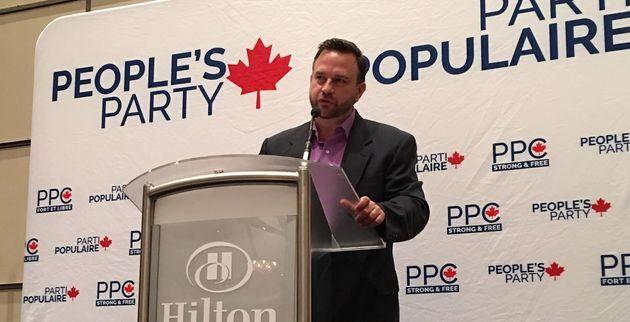 The People's Party of Canada guest speaker Benjamin Dichter delivers a speech at the party's convention at the Hilton Lac-Leamy Hotel and Casino in Gatineau, Ont. on Aug. 19, 2019.