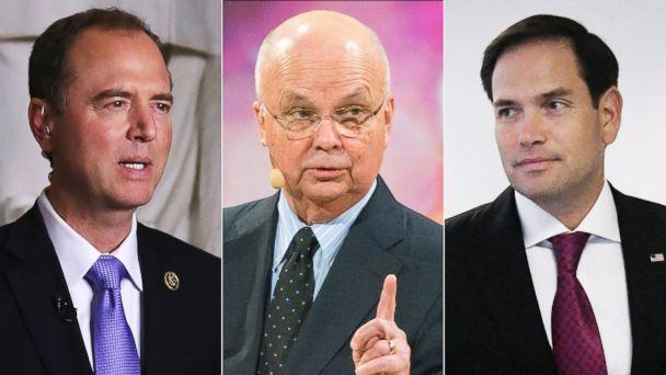 PHOTO: House Intelligence Committee ranking member Rep. Adam Schiff, former Director of the CIA and NSA, Michael Hayden, and Sen. Marco Rubio are pictured in a combination image. (Getty Images)