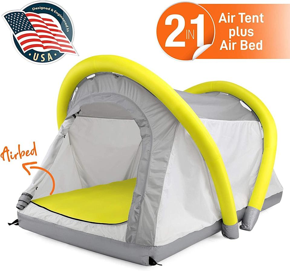 "<p>This cool <a href=""https://www.popsugar.com/buy/SereneLife-Outdoor-Inflatable-Camping-2-1-Airbed-Tent-584326?p_name=SereneLife%20Outdoor%20Inflatable%20Camping%202%20in%201%20Airbed%20Tent&retailer=amazon.com&pid=584326&price=180&evar1=savvy%3Aus&evar9=47570402&evar98=https%3A%2F%2Fwww.popsugar.com%2Fsmart-living%2Fphoto-gallery%2F47570402%2Fimage%2F47570428%2FSereneLife-Outdoor-Inflatable-Camping-2-in-1-Airbed-Tent&list1=travel%2Camazon%2Ccamping&prop13=mobile&pdata=1"" class=""link rapid-noclick-resp"" rel=""nofollow noopener"" target=""_blank"" data-ylk=""slk:SereneLife Outdoor Inflatable Camping 2 in 1 Airbed Tent"">SereneLife Outdoor Inflatable Camping 2 in 1 Airbed Tent</a> ($180) packs small, but comes with a manual hand pump that blows it up within minutes.</p>"