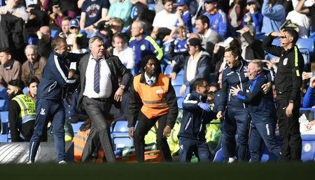 Britain Soccer Football - Chelsea v Crystal Palace - Premier League - Stamford Bridge - 1/4/17 Crystal Palace manager Sam Allardyce and his staff celebrate before the end of the match Action Images via Reuters / Tony O'Brien Livepic