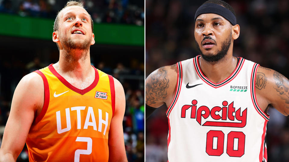 Joe Ingles and Carmelo Anthony, pictured here in action in the NBA.