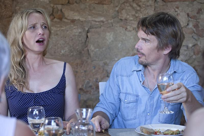 Julie Delpy and Ethan Hawke argue over wine in Before Midnight (Sony Pictures Classics)