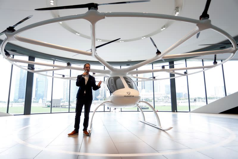 FILE PHOTO: Florian Reuter, CEO of German startup Volocopter, speaks to the media in Singapore