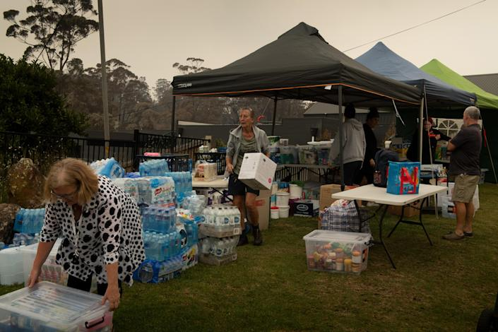 A temporary donations center organized by locals, in Conjola Park, Australia on Sunday, Jan. 5, 2020. (Matthew Abbott/The New York Times)