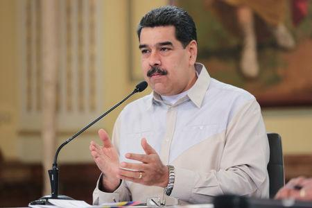 Venezuela's President Nicolas Maduro speaks during a meeting with members of the government at the Miraflores Palace Caracas