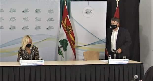 P.E.I. Chief Public Health Officer Dr. Heather Morrison and Premier Dennis King announced a return to mandatory masks in indoor, public spaces. (Ken Linton/CBC - image credit)