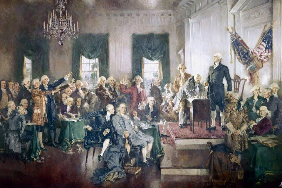 An oil painting of the Constitutional Convention.