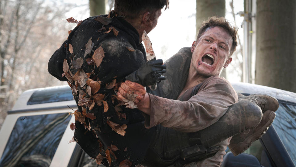 Sam Heughan fights for his life in 'SAS: Red Notice'. (Credit: David Lukacs/Red Notice Ltd/Sky Cinema)