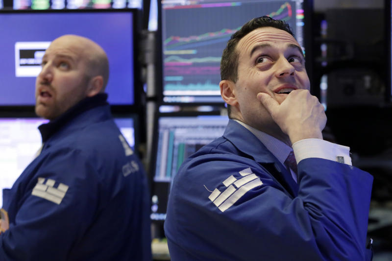 <p> Specialists John Parisi, left, and Michael Gagliano work on the floor of the New York Stock Exchange, Monday, Feb. 5, 2018. The Dow Jones industrial average plunged more than 1,100 points Monday as stocks took their worst loss in six and a half years. (AP Photo/Richard Drew)
