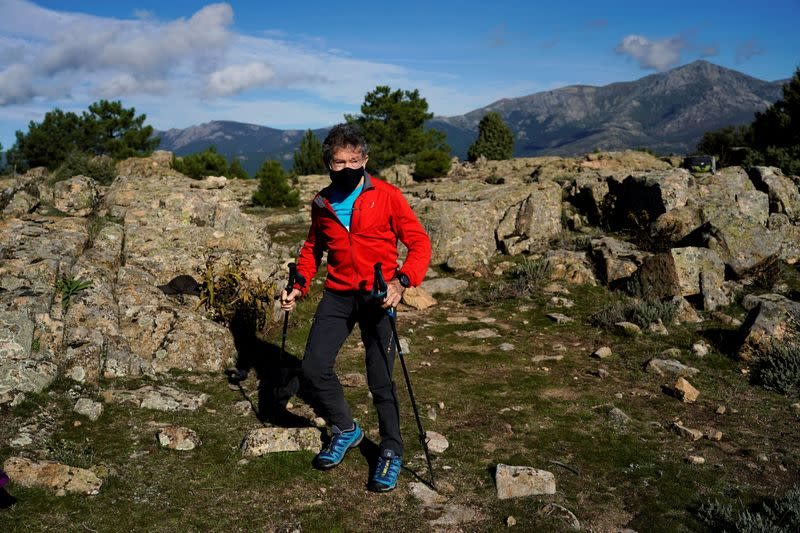 Carlos Soria 81-year-old Spanish mountain climber trains to climb in the Himalaya mountains as a tribute to the elderly affected by the coronavirus disease (COVID-19), in Moralzarzal