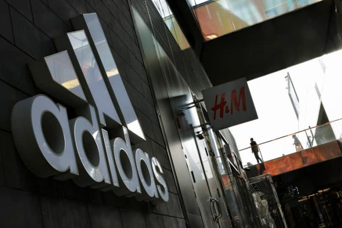 View of an Adidas store in a shopping area in Beijing