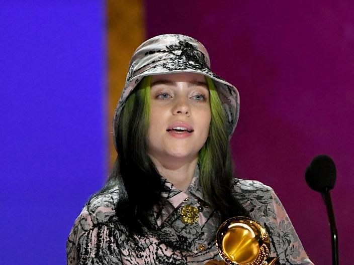 Billie Eilish pictured at the 2021 Grammy Awards (Getty Images for The Recording A)