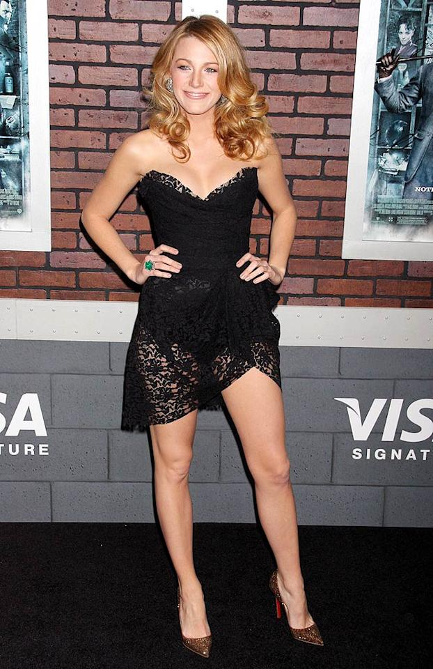"""Gossip Girl's"" Blake Lively wasn't afraid to show a little skin at the New York premiere of ""Sherlock Holmes"" in this daring Dolce & Gabbana number. <a href=""http://www.splashnewsonline.com/"" target=""new"">Splash News</a> - December 17, 2009"