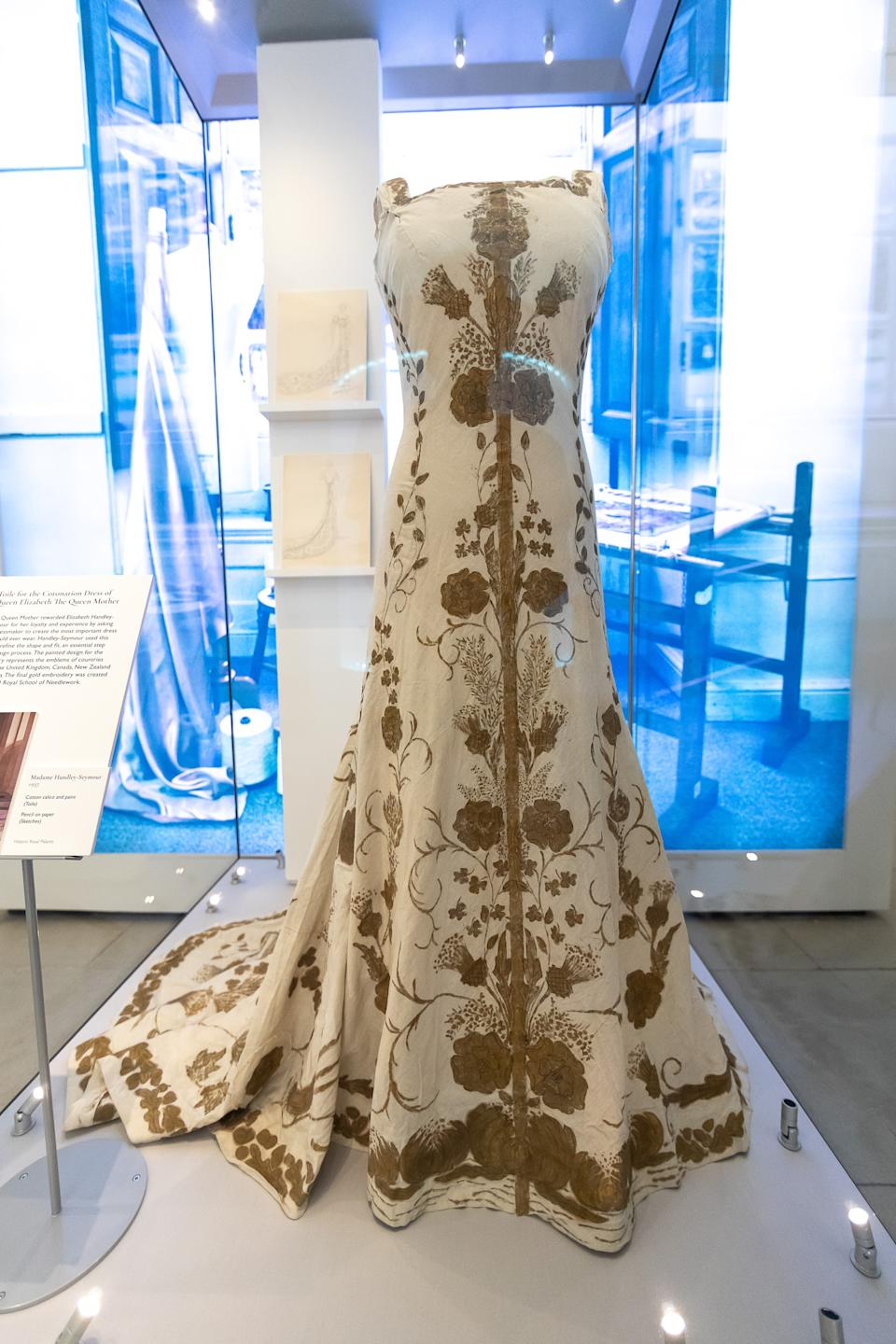 LONDON, ENGLAND - JUNE 02: A rare surviving toile for the 1937 coronation gown of Queen Elizabeth The Queen Mother; consort of King George VI. Created by London based court designer Madame Handley-Seymour on display during the