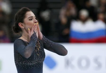Figure Skating - ISU World Championships 2017 - Ladies Free Skating - Helsinki, Finland - 31/3/17 - Evgenia Medvedeva of Russia reacts after her performance. REUTERS/Grigory Dukor TPX IMAGES OF THE DAY