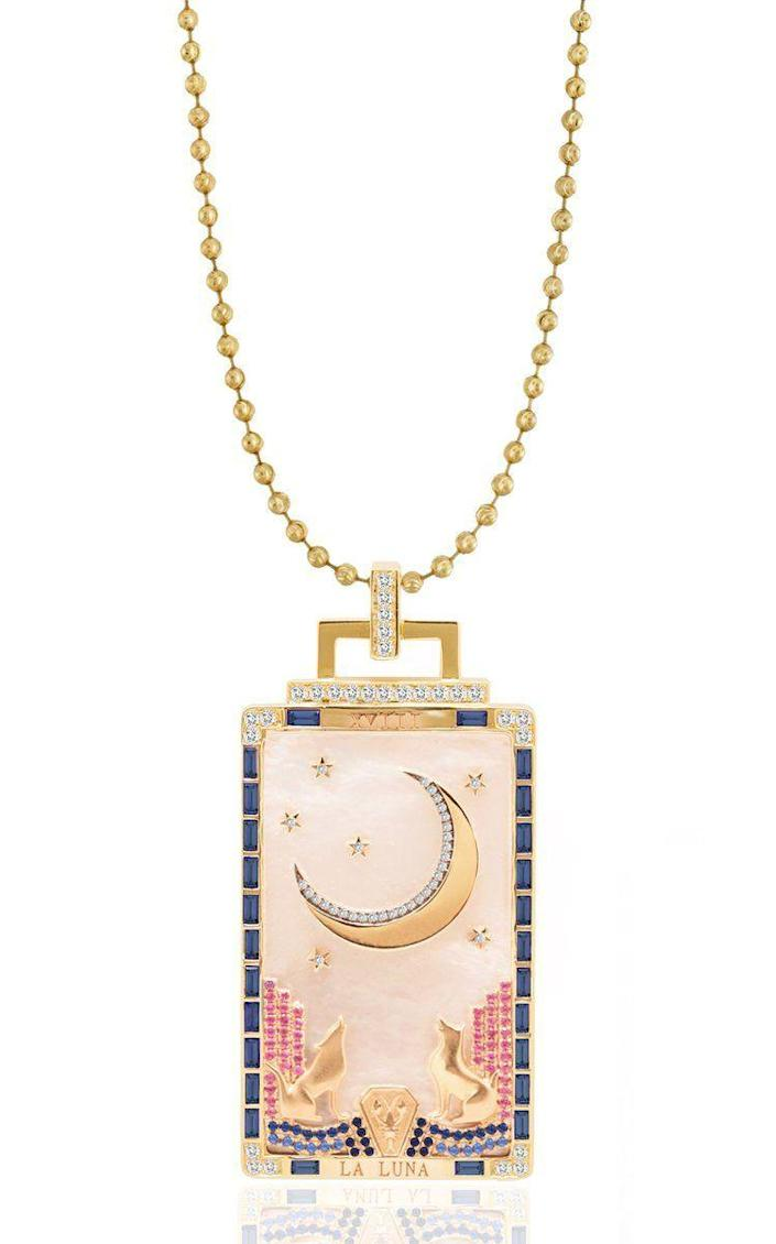 """<p><strong>Sorellina</strong></p><p>modaoperandi.com</p><p><strong>$17500.00</strong></p><p><a href=""""https://go.redirectingat.com?id=74968X1596630&url=https%3A%2F%2Fwww.modaoperandi.com%2Fwomen%2Fp%2Fsorellina%2F18k-yellow-gold-la-luna-tarot-card%2F490580&sref=https%3A%2F%2Fwww.harpersbazaar.com%2Ffashion%2Ftrends%2Fg4447%2Fluxury-gifts-for-women%2F"""" rel=""""nofollow noopener"""" target=""""_blank"""" data-ylk=""""slk:Shop Now"""" class=""""link rapid-noclick-resp"""">Shop Now</a></p><p>Nothing says luxury like a one-of-a-kind 'Tarot Card' pendant carved from mother-of-pearl accented with sapphires and black and white diamonds.</p>"""