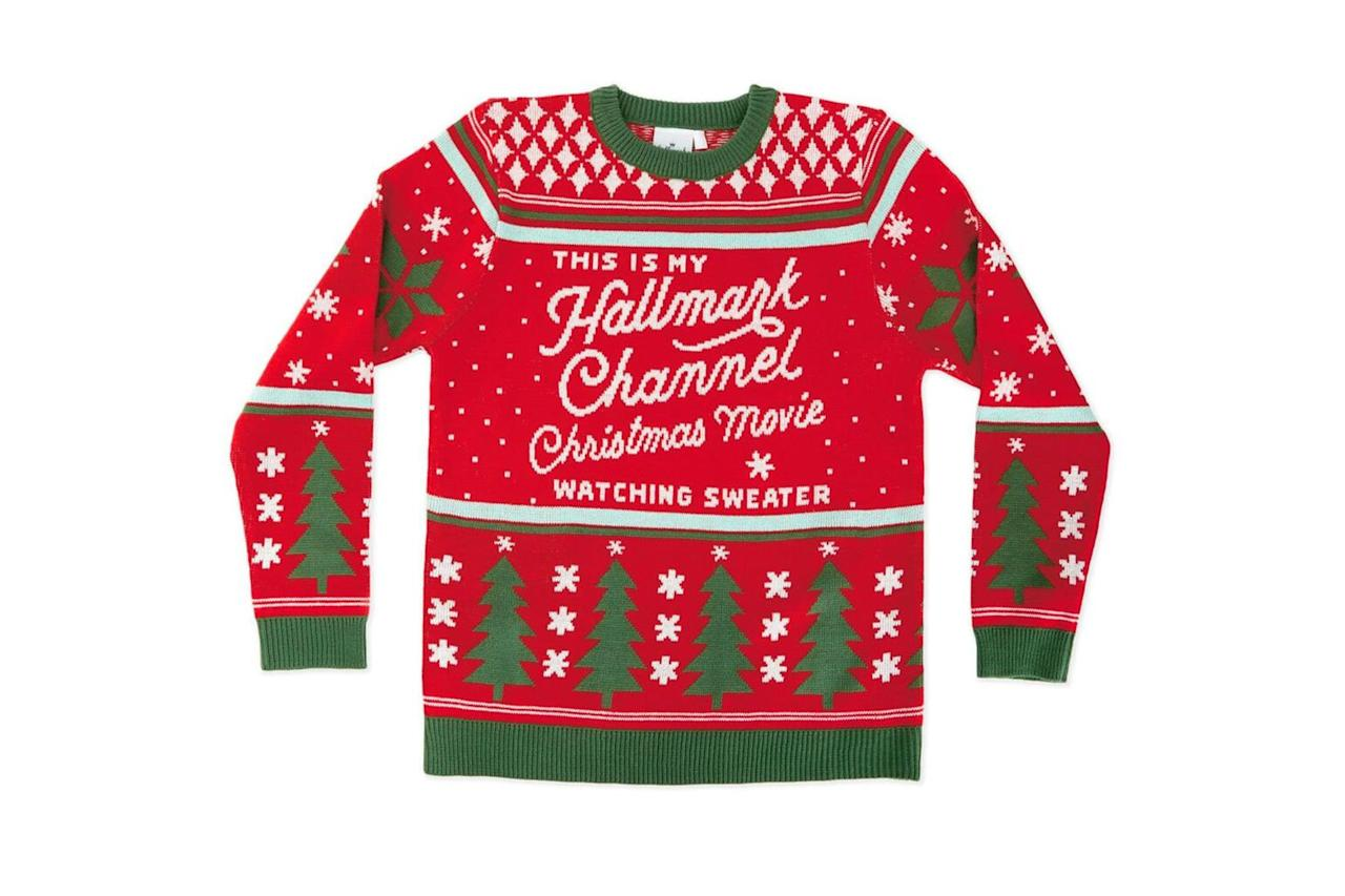 """<p>If """"Countdown to Christmas"""" is your idea of the Super Bowl, consider this cozy sweater your uniform!</p> <p><strong>BUY IT: $50;</strong> <a href=""""https://www.hallmark.com/gifts/fashion-and-accessories/clothing/hallmark-channel-ugly-christmas-sweater-1HKC1312M.html"""" target=""""_blank"""">hallmark.com</a></p>"""