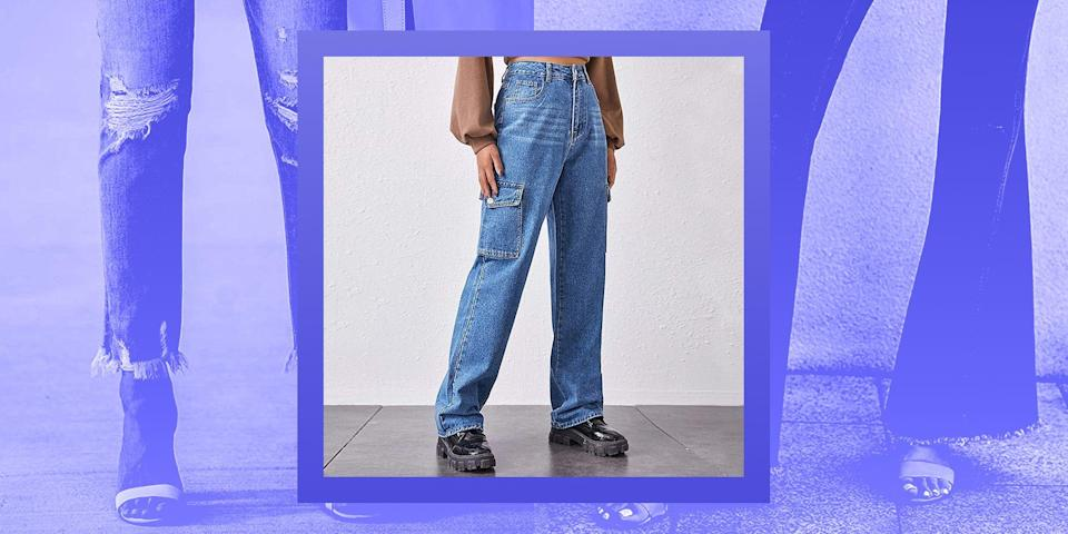 """<p>We love a good pair of denim jeans (yes, even if they are <a href=""""https://www.vox.com/the-goods/2021/2/16/22280755/tiktok-gen-z-millennials-skinny-jeans-side-part"""" rel=""""nofollow noopener"""" target=""""_blank"""" data-ylk=""""slk:skinny jeans"""" class=""""link rapid-noclick-resp"""">skinny jeans</a>), but what we don't love is their price tag. As cute as $150-plus department store jeans are, some of them don't even last longer than a couple of months before they get dreaded thigh holes, rendering them useless.</p><p>However, there's an online denim treasure trove that's filled with under-$50 pairs of skinny, wide-leg, straight, and more: Amazon. We love this e-retail giant for grabbing <a href=""""https://www.bestproducts.com/fashion/g1519/cute-cheap-swimsuits-bathing-suits/"""" rel=""""nofollow noopener"""" target=""""_blank"""" data-ylk=""""slk:swimsuits"""" class=""""link rapid-noclick-resp"""">swimsuits</a>, <a href=""""https://www.bestproducts.com/beauty/g36209610/best-makeup-brushes-on-amazon/"""" rel=""""nofollow noopener"""" target=""""_blank"""" data-ylk=""""slk:makeup brushes"""" class=""""link rapid-noclick-resp"""">makeup brushes</a>, <a href=""""https://www.bestproducts.com/fashion/g35997394/best-dresses-on-amazon/"""" rel=""""nofollow noopener"""" target=""""_blank"""" data-ylk=""""slk:dresses"""" class=""""link rapid-noclick-resp"""">dresses</a>, and more at a discounted price, and now they're our number one stop for finding only the best inexpensive denim options. Plus, you can expect to find major name brands like Levi's and Lee for way less than buying them in-store — and did we mention free returns?</p><p>Below, check out some of our favorite cheap jeans on Amazon to replenish your denim collection.</p>"""