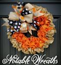 """<p><strong>NotableWreaths</strong></p><p><strong>$54.99</strong></p><p><a href=""""https://go.redirectingat.com?id=74968X1596630&url=https%3A%2F%2Fwww.etsy.com%2Flisting%2F1048651639%2Ffall-burlap-wreath-for-front-door-fall&sref=https%3A%2F%2Fwww.goodhousekeeping.com%2Fholidays%2Fhalloween-ideas%2Fg4602%2Foutdoor-yard-halloween-decorations%2F"""" rel=""""nofollow noopener"""" target=""""_blank"""" data-ylk=""""slk:Shop Now"""" class=""""link rapid-noclick-resp"""">Shop Now</a></p><p>A cute wreath will be the star of your front door as soon as you hang it up this fall.</p>"""