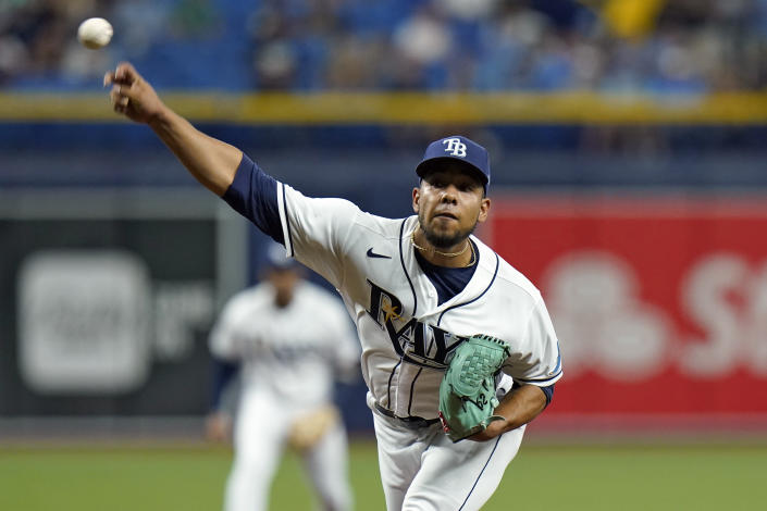 Tampa Bay Rays' Luis Patino pitches to the Seattle Mariners during the first inning of a baseball game Tuesday, Aug. 3, 2021, in St. Petersburg, Fla. (AP Photo/Chris O'Meara)