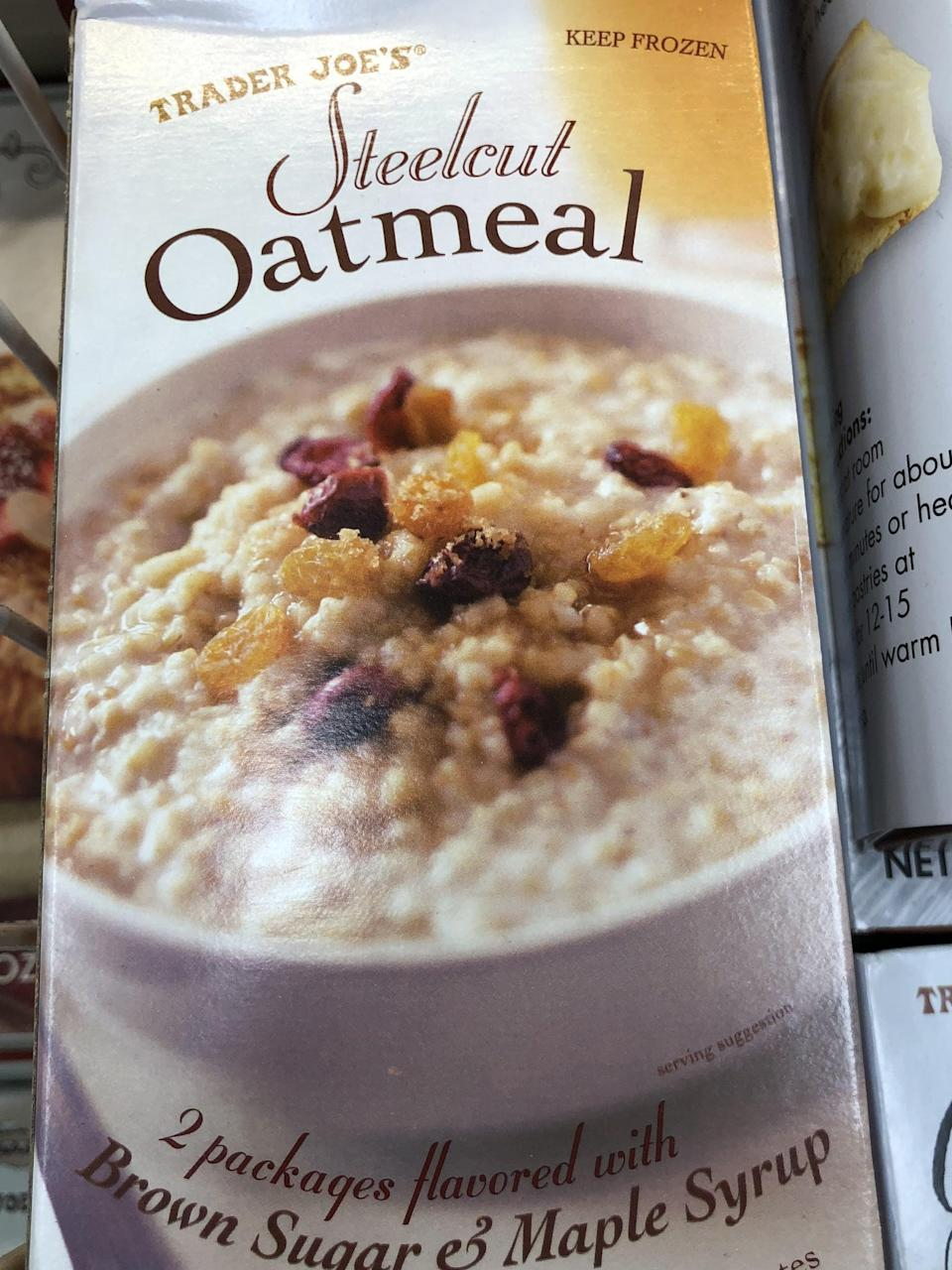 <p>Steel cut oatmeal is filling and delicious, and this one cooks up in minutes (compared to 40 if you do it yourself). </p>