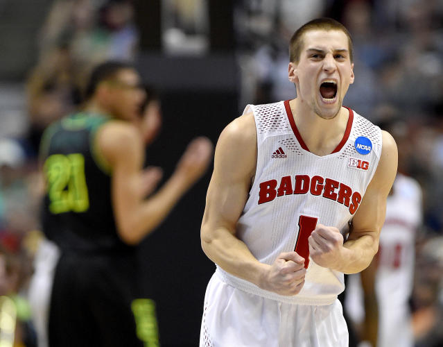 Wisconsin guard Ben Brust (1) reacts during the first half of an NCAA college basketball tournament regional semifinal against Baylor, Thursday, March 27, 2014, in Anaheim, Calif. (AP Photo/Mark J. Terrill)