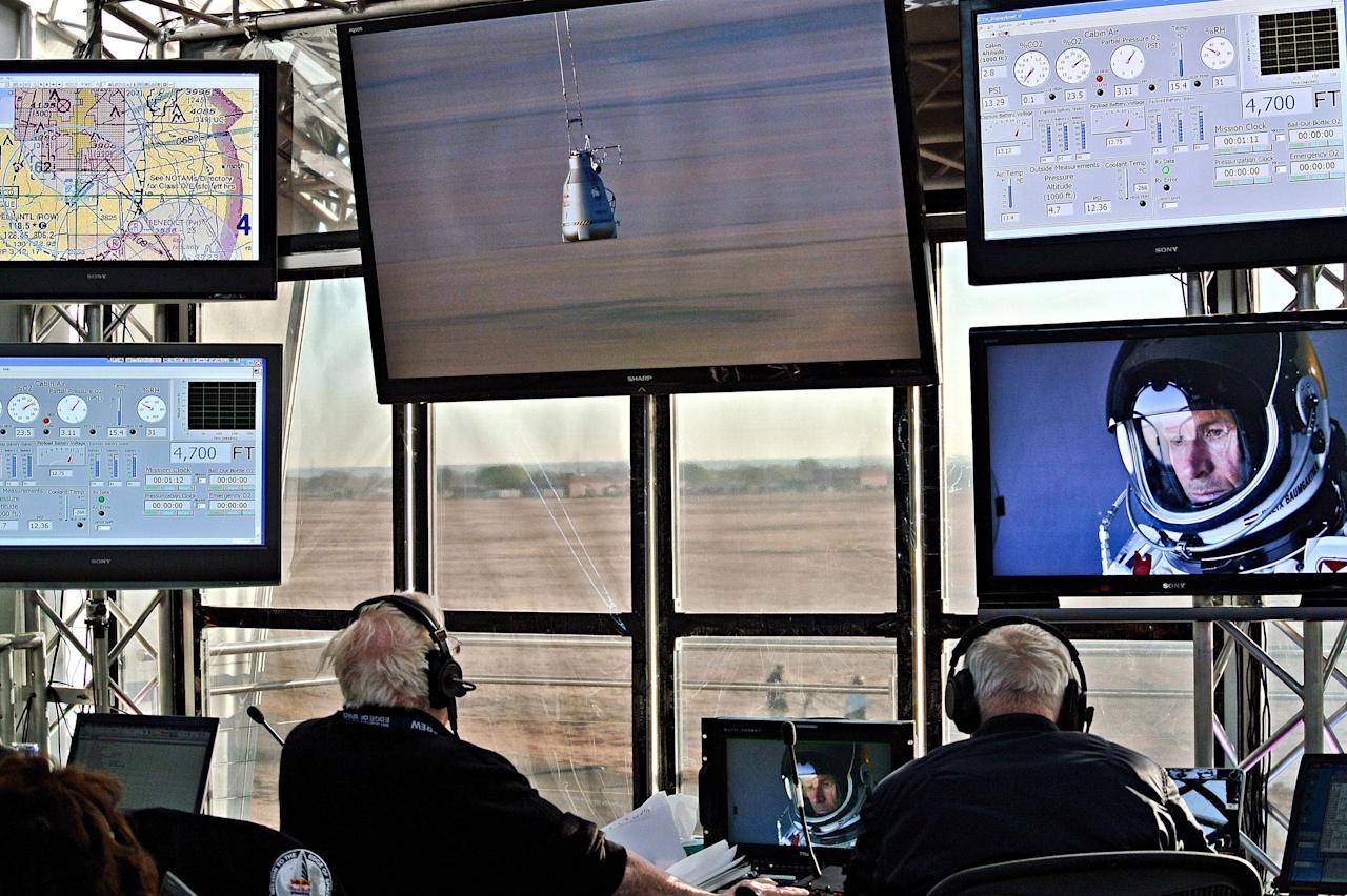 ROSWELL, NM - MARCH 15:  (EDITORIAL USE ONLY) In this photo provided by Red Bull, The mission control room is seen during the first manned test flight for Red Bull Stratos on March 15, 2012 in Roswell, New Mexico. In this test he reach the altitude 21800 meters (71500 ft) and landed safely near Roswell. Red Bull Stratos is a mission to the edge of the earths atmosphere, where upon reaching altitude of 120,000 feet by helium baloon, pilot and basejumper Felix Baumgartner will then freefall to the ground in an attempt to break the speed of sound. (Photo by Stefan Aufschnaiter/Red Bull via Getty Images)