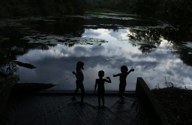 Children play at the edge of a lagoon at the Ecological Reserve of Guapiacu (REGUA) in Rio de Janeiro April 19, 2014. Picture taken April 19, 2014. REUTERS/Pilar Olivares (BRAZIL - Tags: ENVIRONMENT)