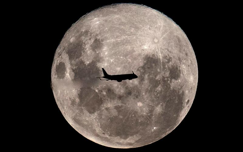 A plane on a flight from Buenos Aires to the Argentine city of Bahia Blanca, passes in front of the