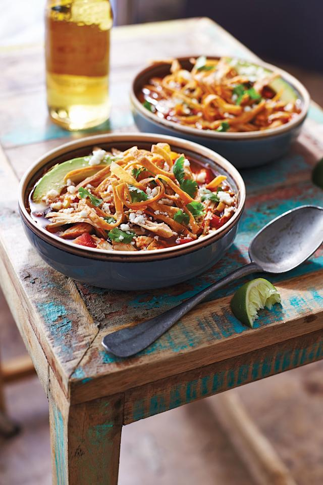 "<p><b>Recipe: <a href=""http://www.southernliving.com/recipes/smoked-chicken-tortilla-soup-recipe"" target=""_blank"">Smoked Chicken Tortilla Soup</a></b></p> <p>Save time by using store-bought rotisserie chicken for this <a href=""http://www.southernliving.com/meat/chicken/one-pot-chicken-recipes"" target=""_blank"">one-pot recipe</a>.</p>"