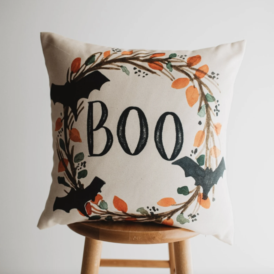 Boo Halloween Wreath Pillow Cover with orange and green wreath