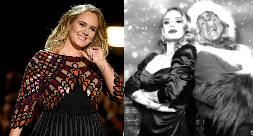 Adele. Images via Getty Images and Instagram/Adele.