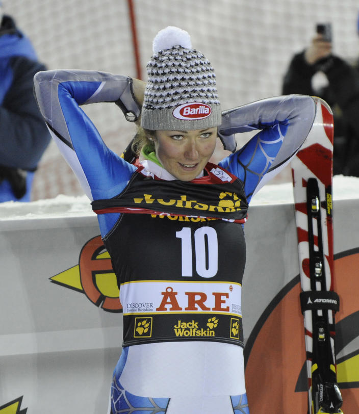 Mikaela Shiffrin, of the United States, at finish line after winning an alpine ski, women's World Cup slalom, in Are, Sweden, Thursday, Dec. 20, 2012. (AP Photo/Giovanni Auletta)