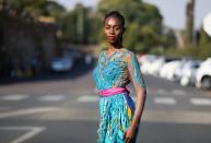 Lehlogonolo Machaba, the first openly transgender woman to compete for the Miss South Africa title poses for a photograph outside the Union Buildings in Pretoria