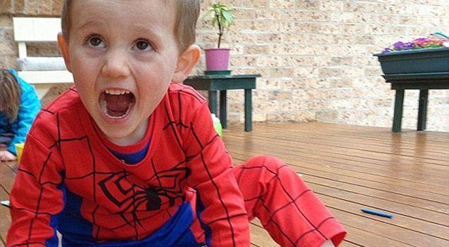 William was last seen wearing this spider-man costume. Source: NSW Police