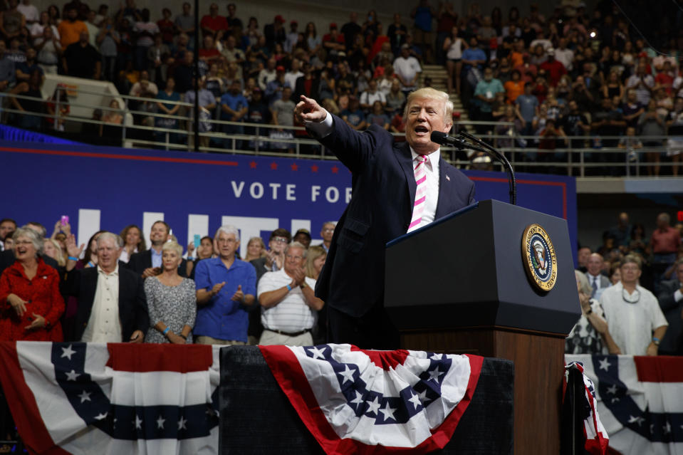 President Donald Trump speaks during a campaign rally for Senate candidate Luther Strange. (AP)