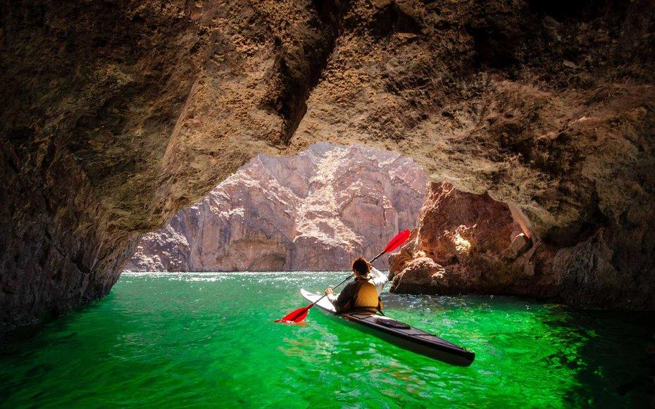 <p>Black Canyons Emerald Cove is best explored from kayak. Its a hidden cave where the water inside glows a brilliant green. Its a magical and memorable photo opp and perfect for couples who split a tandem kayak. Keep paddling down the Colorado River and visitors will find a saunas, hot springs and narrow canyons. </p>