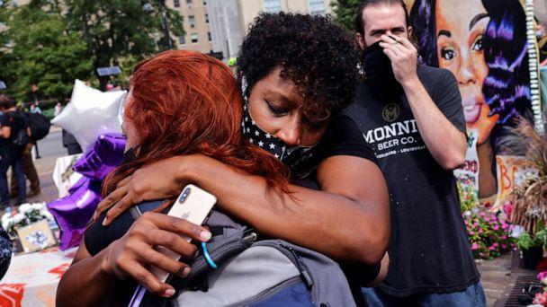 PHOTO: People react after a decision in the criminal case against police officers involved in the death of Breonna Taylor, who was shot dead by police in her apartment, in Louisville, Ky., Sept. 23, 2020. (Carlos Barria/Reuters)