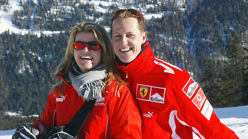 Seen here, Schumacher with his wife Corinna on one of their skiing holidays.