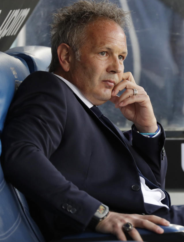 Bologna coach Sinisa Mihajlovic sits on the bench prior to an Italian Serie A soccer match between Lazio and Bologna, at the Olympic stadium in Rome, Monday, May 20, 2019. (AP Photo/Andrew Medichini)