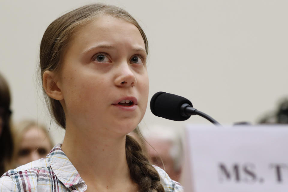 FILE - In this Wednesday, Sept. 18, 2019, file photo, youth climate change activist Greta Thunberg speaks at a House Foreign Affairs Committee subcommittee hearing on climate change, on Capitol Hill in Washington. Thunberg, 16, of Sweden, who accused international leaders of ignoring the dangers of global warming in a speech shared around the world is joining young fellow activists in Los Angeles on Friday, Nov. 1, for a protest aimed at getting California out of the oil-drilling business. (AP Photo/Jacquelyn Martin, File)